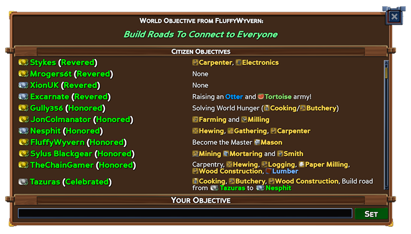 Objectives panel in Beta 7.1